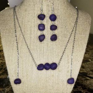 Purple Dyed Agate Scarf Style Set